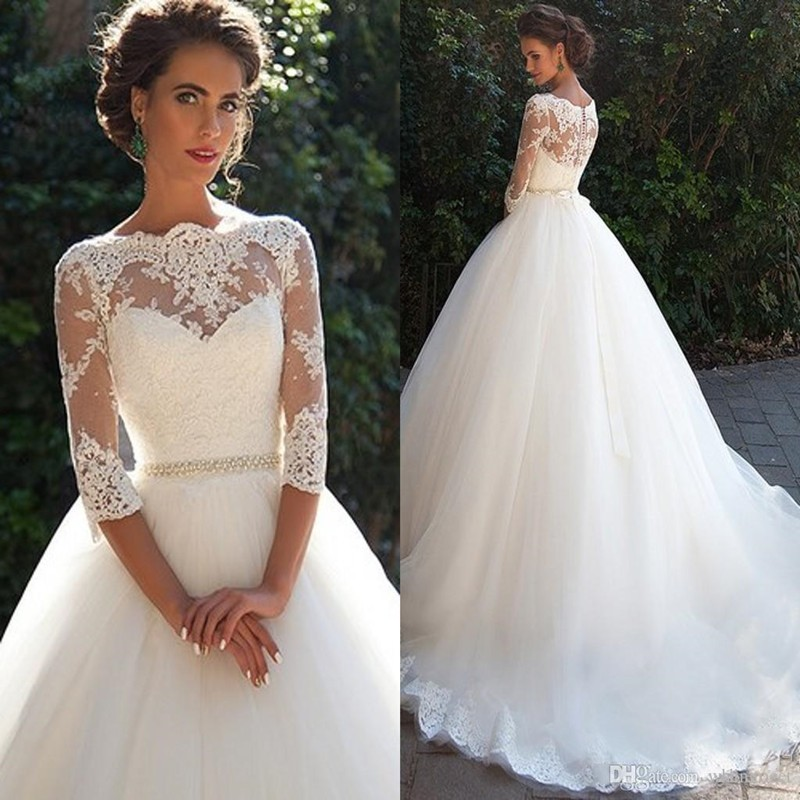 Sexy A Line Sheer Lace Wedding Dress 2017 Vintage Three Quarter Sleeve Wedding Gowns with Cathedral Train Vestido de Noiva(China (Mainland))