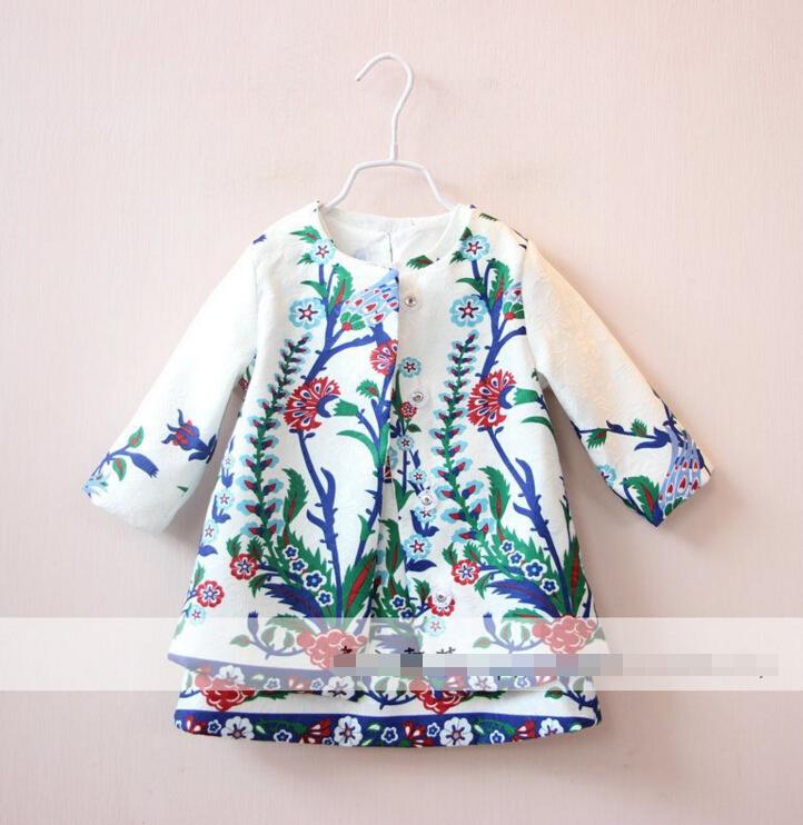 2016 New Children Baby Printed vest dress + lavender coat  2pcs set girls suit  wholesale<br><br>Aliexpress