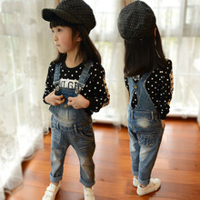2015 New Arrival Girls Denim Overalls Brand High Quality Girls Overall Jeans Spring & Autumn Kids Jumpsuit 2-8T Bib Pants, YC054(China (Mainland))