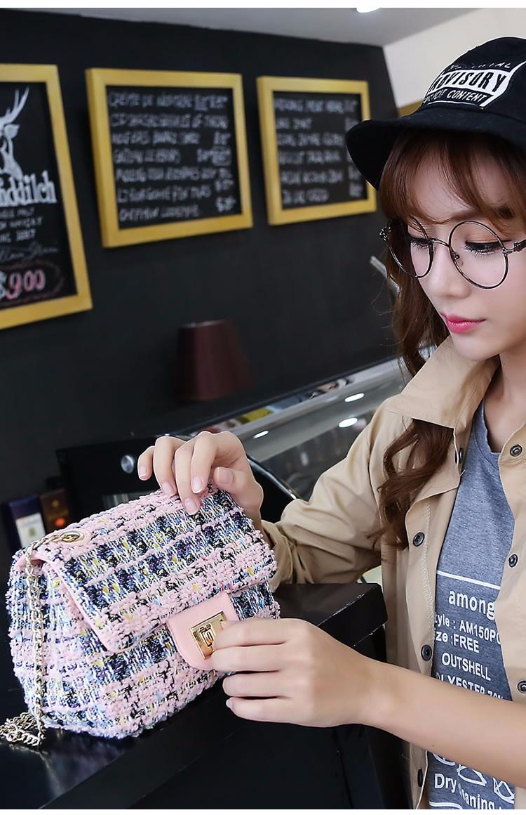 Mini Korean Style Chain Bag Women Designer Ladylike Small Shoulder Bag Designer Woolen Fabric Ladies Classy Classy Crossbody Bag