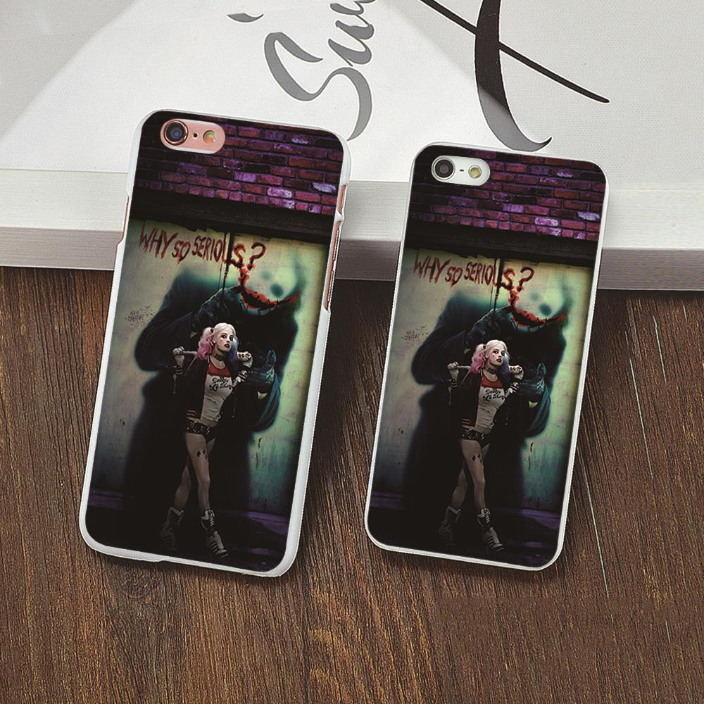 New arrived Harley Quinn Design white skin phone cover cases for iphone 4 5 5c 5s 6 6s 6plus