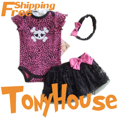 Rompers Baby girl's fashion leopard skull one piece cotton jumpsuit+chiffon skirt+hairbands 3 pc set clothes free shipping