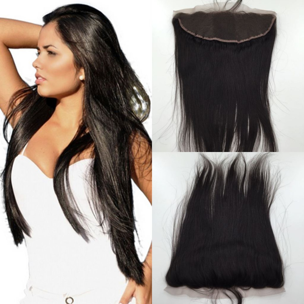 Фотография 7A Straight Lace Frontal,13x4 Brazilian Straight Lace Frontal Closure Bleached Knots,Free 3 Part Straight Frontal