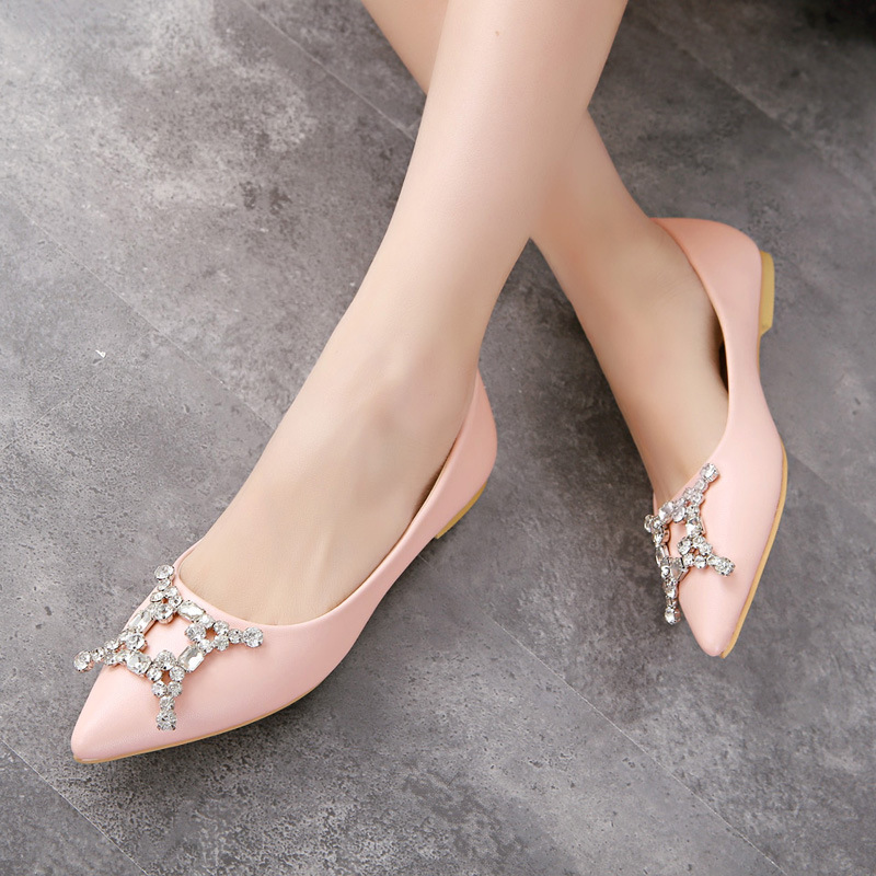 The spring and summer of 2015 new station explosion Rhinestone four horns pointed flat shoes with