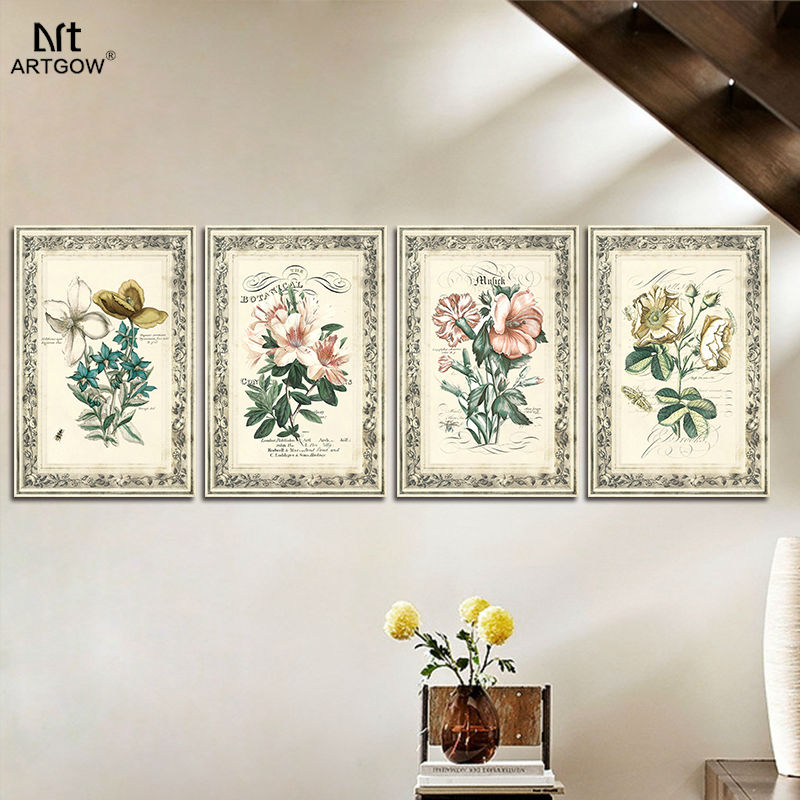 Retro Nostalgic 4 pcs flower children living room Decoration poster Canvas printed Painting wall Hanging home decor unframed(China (Mainland))