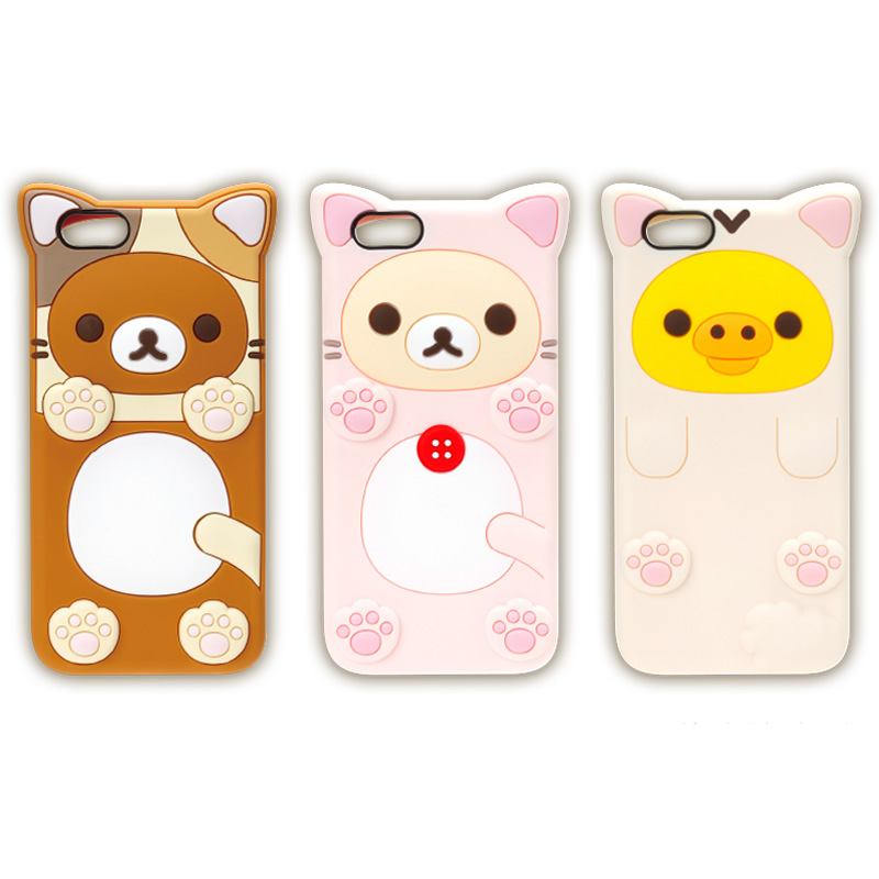 Fashion New Cute Cartoon Soft Silicone Lovely Bear Pig Rilakkuma Back Cover Case For iPhone 6 6S 6 Plus 6S Plus 4.7 5. Inch(China (Mainland))