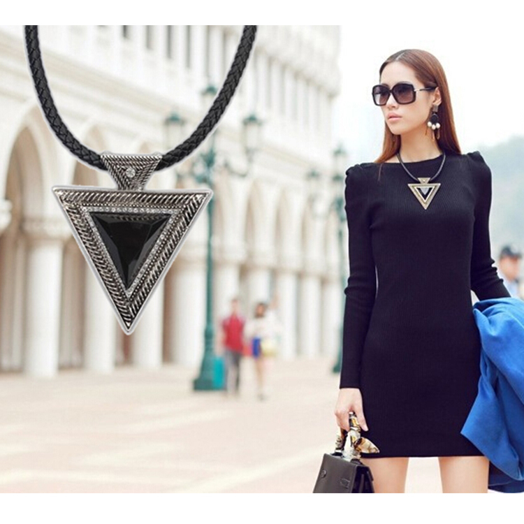Hot Collares 2014 Bijoux Fashion Vintage Jewelry Gold Chain Triangle Statement Necklace Leather Rhinestone Necklaces & pendants(China (Mainland))
