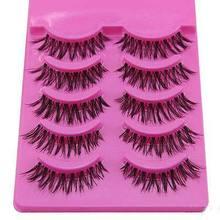 5 Pairs Natural Long Cross False Eyelashes Fake Eye Lashes Voluminous Makeup Tools Pink Box(China (Mainland))