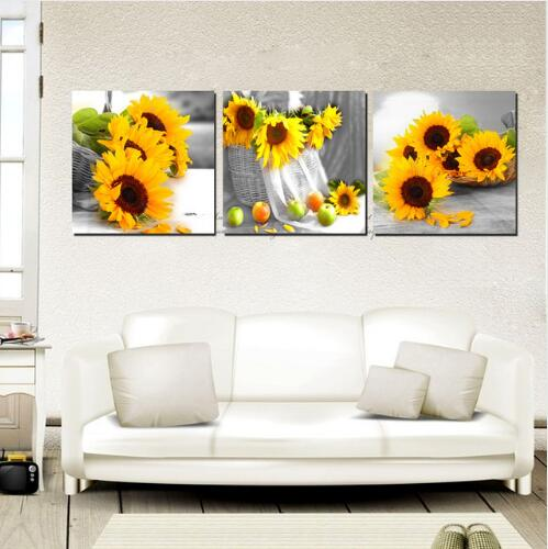 Modern Home Decoration Painting Set Yellow Sunflower On Desk Floral Art Canvas Printings Beautiful 3 Panel No Frame(China (Mainland))