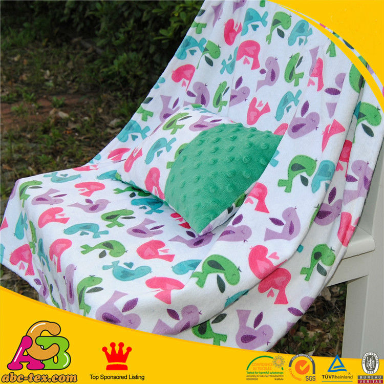 New High Quality Minky Love Bird Green Color Baby Blanket Baby Pillow Cover Super Soft and Comfortable baby bedding Swaddling(China (Mainland))