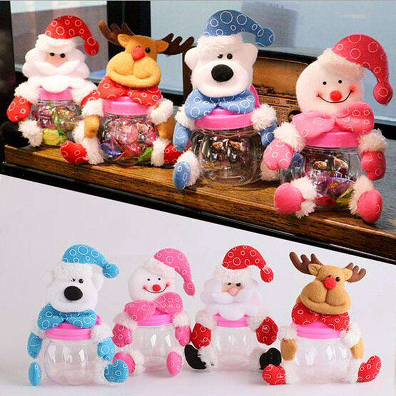 1Pcs Christmas Cute Plush Toys Candy Jar Sugar Money Box Santa Gifts Ornaments Navidad For New Year Christmas Gifts(China (Mainland))