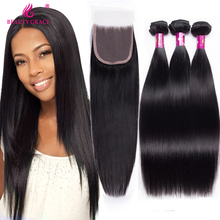 Brazilian Virgin Hair Weft Silky Straight 3pcs Human Hair Weave Bundles with 1pcs Lace Closure 100% Human Hair Extensions