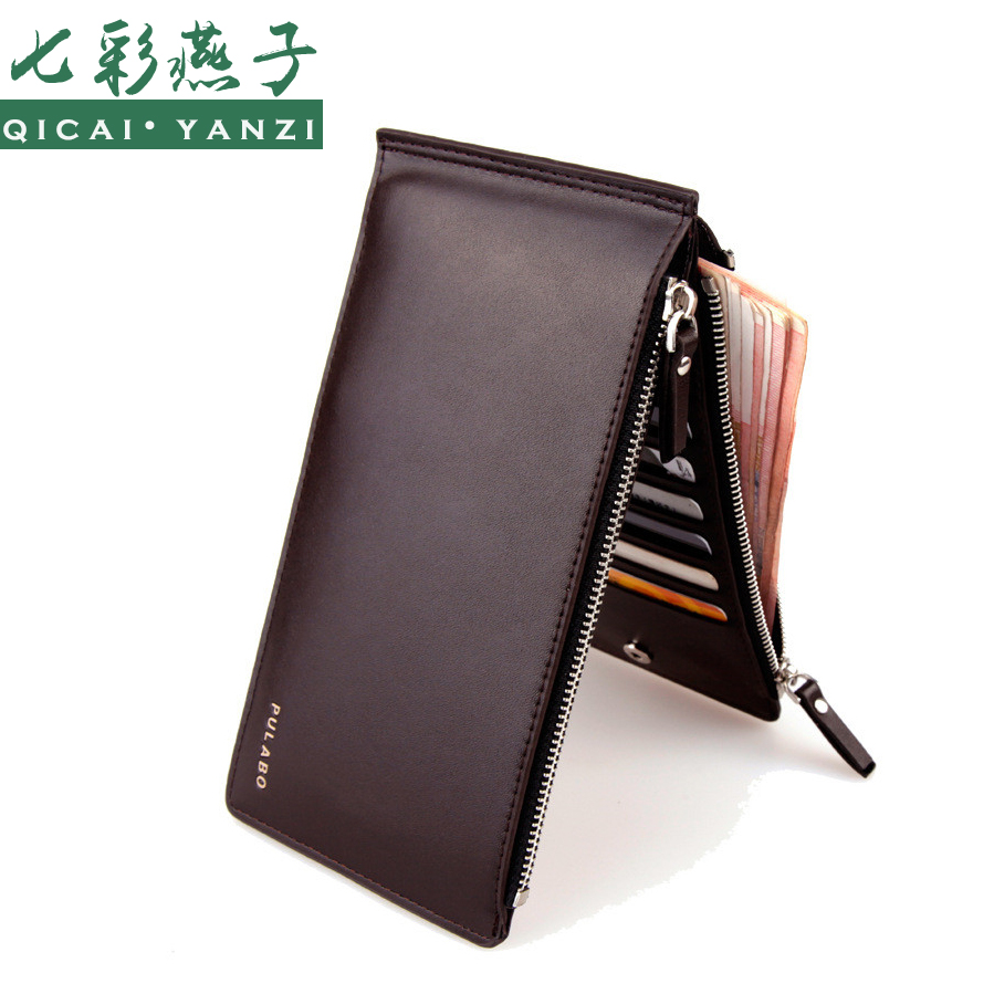 2016 Leather Men Wallets Clutch Double Zipper High Quality Mens Credit Card Bifold Wallets Coin Purse Business Card Holder J423(China (Mainland))