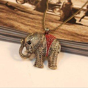 Free Shipping, N107 ,New Vintage Red Rhinestone Elephant Alloy Pendants Necklace/ Sweater Chain 54224