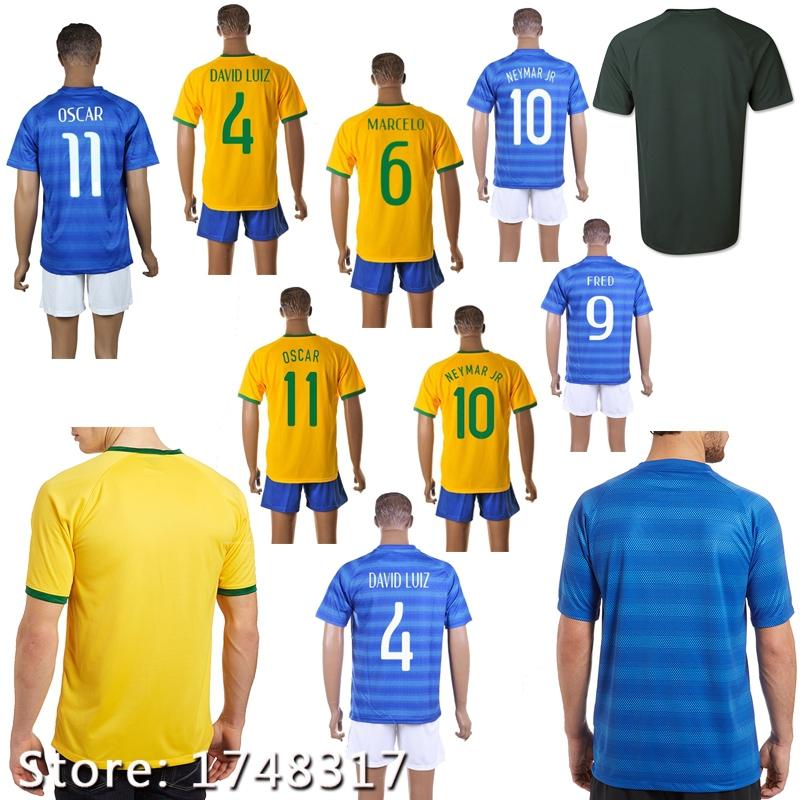 Customize NEYMAR JR soccer jerseys 2014 15 DAVID LUIZ jerseys 2015 DANI ALVES Kaka T.SILVA Ronaldo football shirts free shipping(China (Mainland))