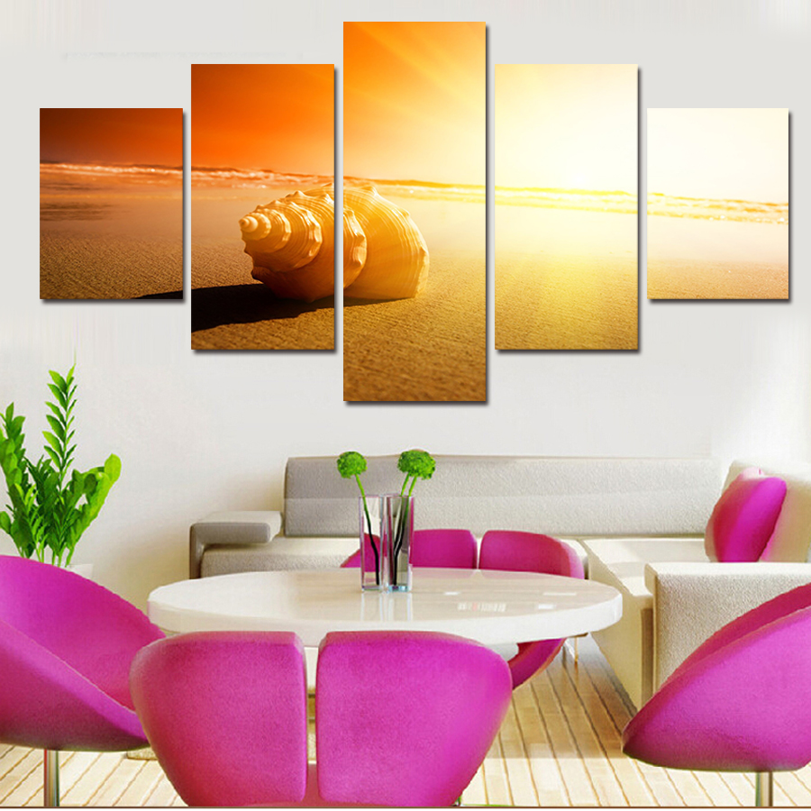 5 Pcs Wall Art Shell Under The Sun Beach Picture Modern Home Decoration Living Room Bedroom Canvas Print Painting Wall Picture