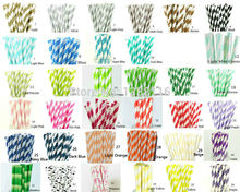 Hot Sale 100pcs Paper Straws Paper Drinking Straws For Kids Birthday Party Wedding Decorations Your Choice of 193 Colors(China (Mainland))