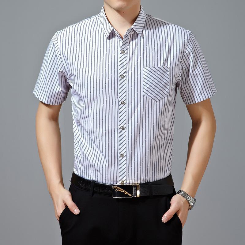 New Men 39 S Shirts Short Sleeve Mercerized Cotton Slim