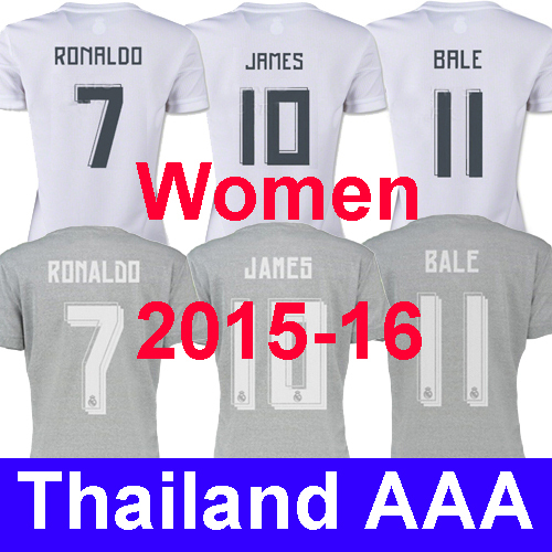 New AAA 15 16 Real Madrid jersey Women 2016 Real Madrid home away female mujeres soccer jersey Ronaldo James girl soccer shirt(China (Mainland))