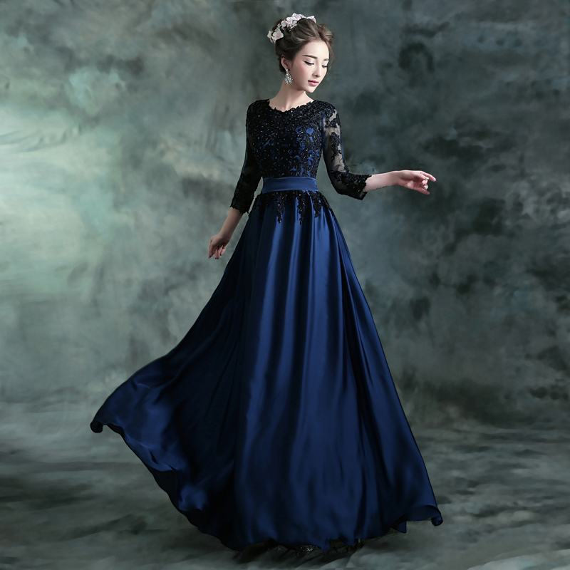 Vintage A Line Chiffon Long Royal Blue Prom Dresses Applique Party Dress Evening Elegant Hand