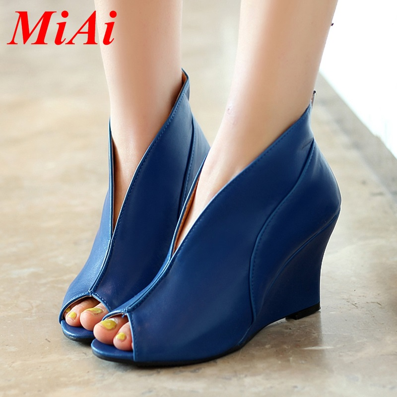 2016 new arrival womens sexy high heels peep toe pumps fashion wedges shoes woman spring autumn pumps for women plus size 34-43<br><br>Aliexpress