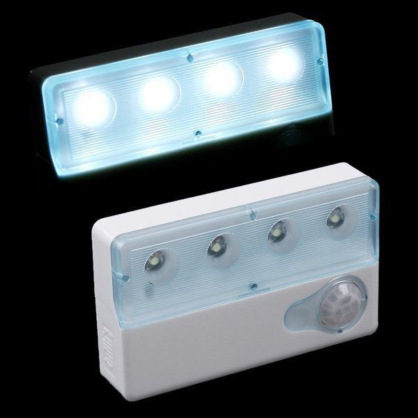 White Mini 4 LED USB Rechargeable Infrared IR Auto Human Sensor Motion Detector Light Wireless Lamp for cabinet chest bureau(China (Mainland))