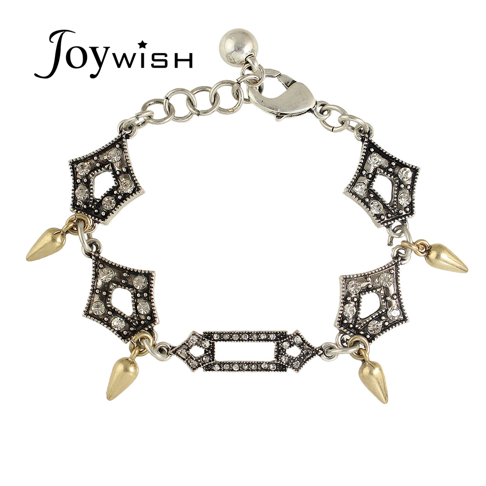 Antique Silver Chains Bangles and Bracelets Luxurious Rhinestone Hollow Out Geometric Spike Charm Bracelet Femme(China (Mainland))