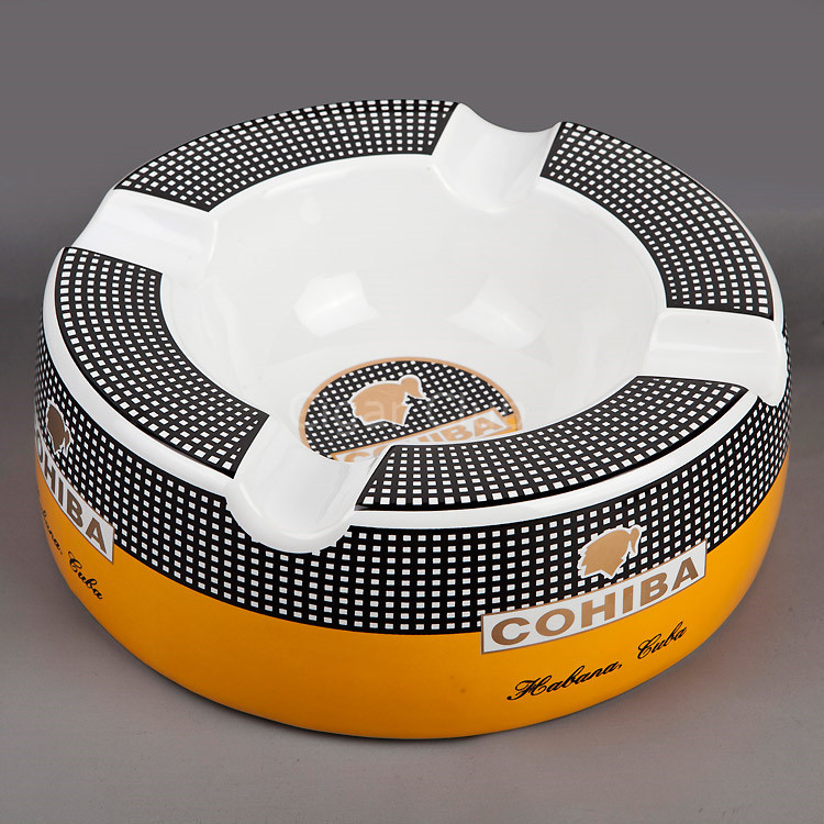 Wholesale Price Popular COHIBA Gadget Ceramic Large Size Round Cigar Ashtray with 4 Rests(China (Mainland))