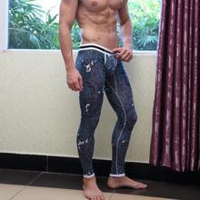 4005-CKU Sports Men's Healthy Cotton Novelty Sexy Print Long Johns Underwear Pants(China (Mainland))