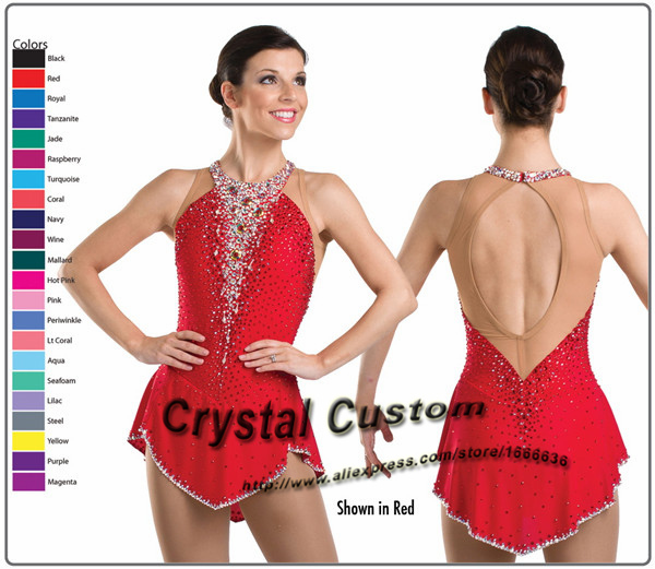 2015 Custom Figure Skating Dresses With Spandex New Brand Vogue Figure Skating Competition Dress Customized  DR3007Одежда и ак�е��уары<br><br><br>Aliexpress
