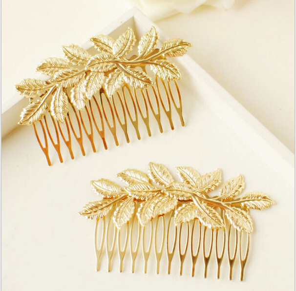 New Arrival Designer Gold Leaf Bridal Hair Combs Quality Accessories For Women Girls Wedding Bijoux Hair Jewelry(China (Mainland))