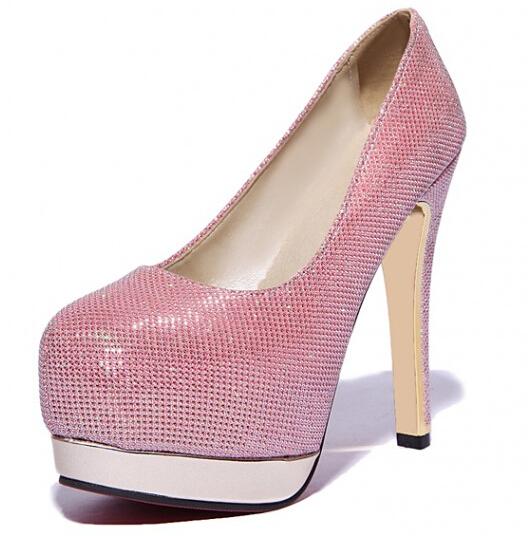 ENMAYER  New 2015 Fashionable Women High Heeled Party Wedding Shoes Round Toe Solid Comfy Insole Platform Women Platform Pumps<br><br>Aliexpress