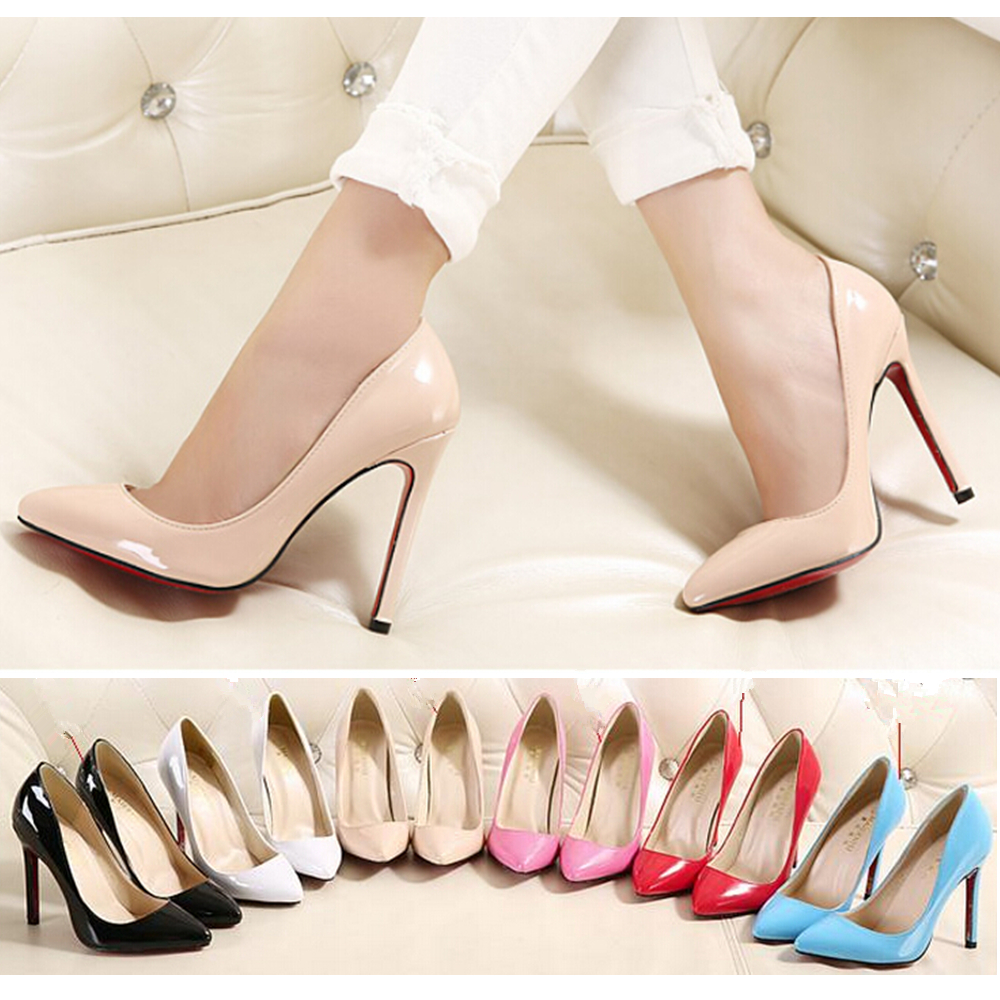 11cm High Heels Sexy Fashion Dinner Shoes Ultra High Pointed Toe Red Sole Women Pums Nude Color OL Style Wedding Party Shoes(China (Mainland))