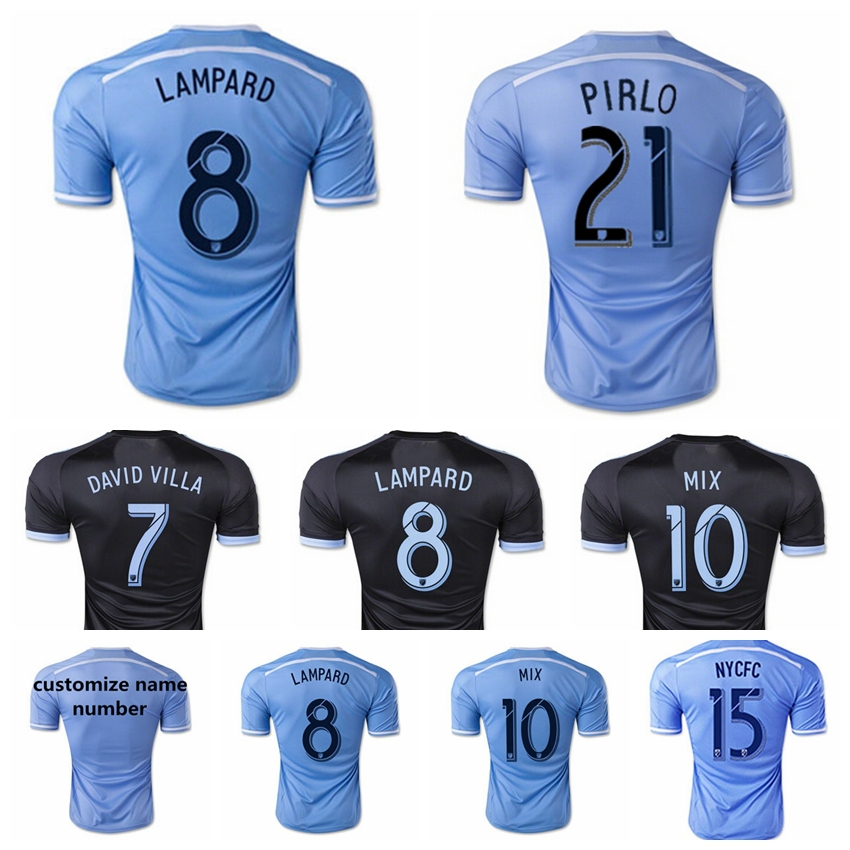 15 16 FC Soccer NY New York City Jerseys 8 Frank Lampard Shirt 7 David Villa 21 Andrea Pirlo Football shirt NYCFC Men Blue Black(China (Mainland))