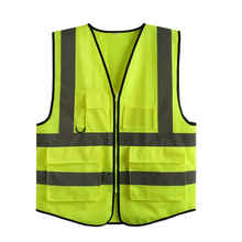 Safety Clothing  5-pockets high visibility adult traffic reflective safety vest sanitation worker fishing vest(China (Mainland))