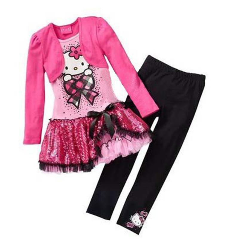 Retail 2016 Kids Clothes Sets Fashion Autumn 2pcs Sets Skirt Suit Hello Kitty Baby Girls Dresses Clothing Sets Shirt +Pants(China (Mainland))