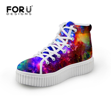 Casual Women High-top Platform Shoes Colorful Galaxy Star Girls Lace-up Shoes Lady Round Toe Flat Walking Shoes Chaussure Femme(China (Mainland))