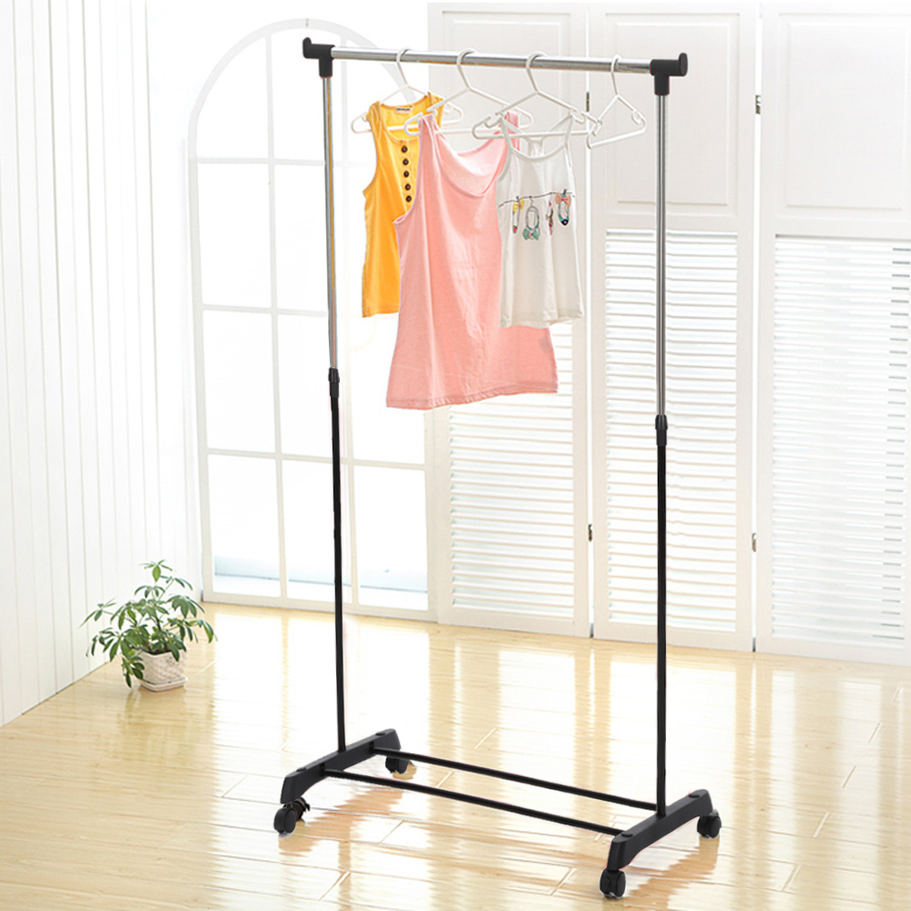 US Stock IKAYAA Metal Coat Clothes Garment Hanging Rack Heavy-duty Rolling Cloth Organizer Display on Wheels Shoes Rack(China (Mainland))