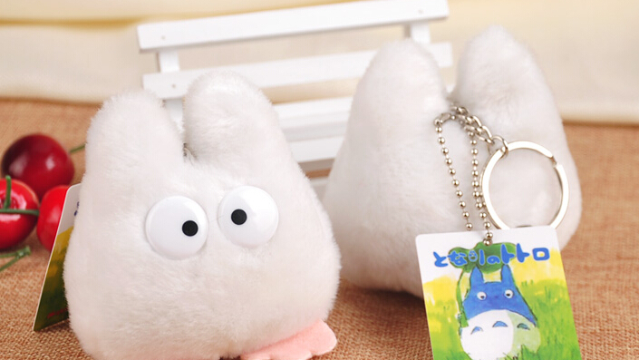20 pieces/lot High Quality Totoro  Key Ring Plush Toy Doll  bags backpack Decoration Accessory small Pendant  White size 10cm <br><br>Aliexpress