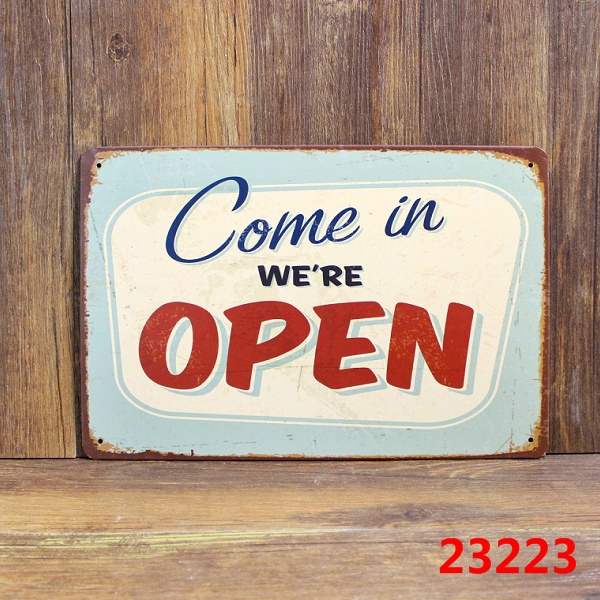 Come in We are OPEN slogan tin Signs Metal Poster Pub Bar office Decoration Free Shipping 20*30cm(China (Mainland))