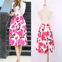 2016 Spring Vintage Ball Gown Women Knee Length Plus Size Skirt High Waisted Skirts Pink Red Rose Floral Print Long Skirt