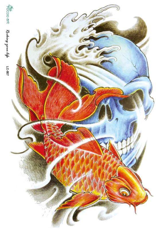 LC2807 22*16cm 3D Large Halloween Horror Skull Terror Skeleton Golden Fish Drawing Designs Cool Temporary Tattoo Stickers(China (Mainland))