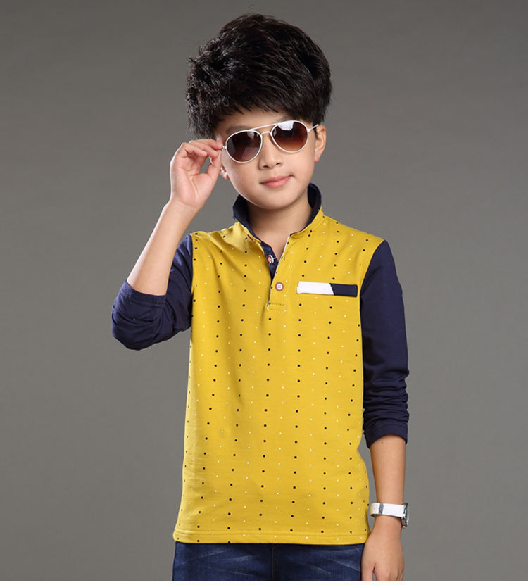 New 2015 Spring Autumn Fashion Boy T-shirts turn-down collar Long Sleeve children's clothing Patchwork Polo shirts(China (Mainland))
