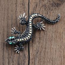 Vendita di Cristallo Vintage Lizard Spilla Per Le Donne Dei Monili del Metallo Dello Smalto Spilli Vestito Degli Uomini spilla animale accessori di abbigliamento(China)