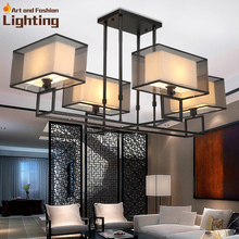 3D Effect Rectangel Iron Chandelier Modern Creative Living Room Lamp Fabric And Gauze Lampshade 4 Lights(China (Mainland))