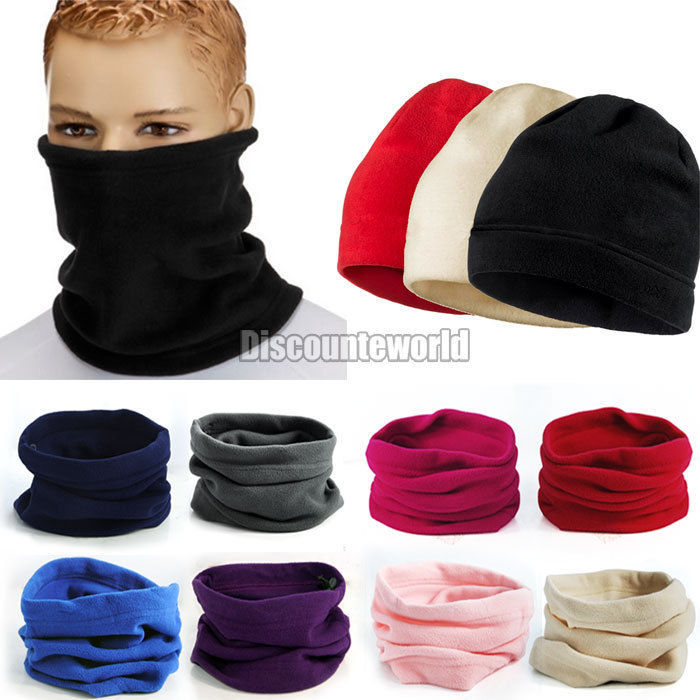 Hot New 2015 Functional Winter Unisex Women Men 3 in 1 Warm Polar Fleece Snood Hat