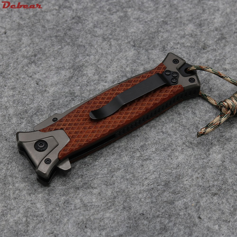 Buy Dcbear Best Folding Knives With Rosewood Handle 57HRC 5Cr13Mov Blade Camping Hunting Tactical Outdoor Survival Knives Tools cheap