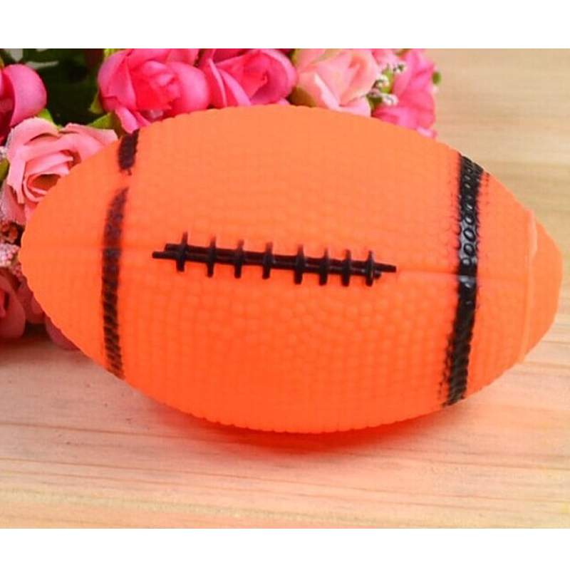 2PCS Orange Pet Puppy Chew Toys Squeaker Dog Squeaky Sound Fetch Toys Small Rubber Rugby Ball + Free Shipping(China (Mainland))