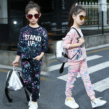Buy Spring Girl Clothing Sets Letter T-shirts+ Graffiti Pants Children Clothes Set 5-11 Years Kids Sports Suit Teenagers Tracksuit for $17.91 in AliExpress store