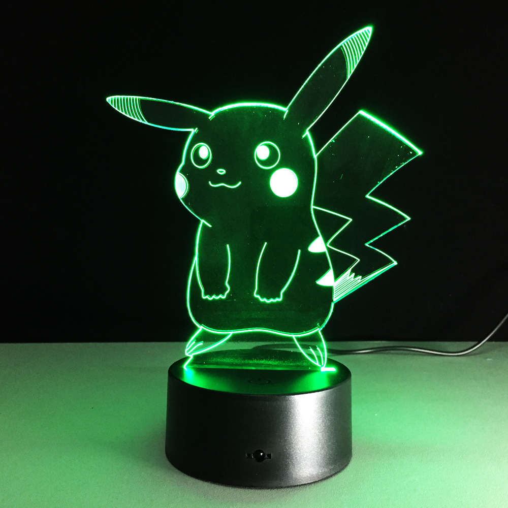 USB RGB лампа в виде Пикачу с сенсорным затемнением 3D ночной Светильник IMG_2162